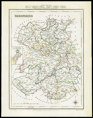 1845 Original Antique Map of SHROPSHIRE by Lewis & Co