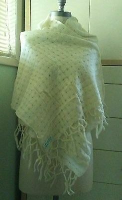Vintage Shanagarry Weavers made in Ireland wool scarf creme color
