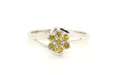 Stunning 9Ct White Gold Yellow Diamond Cluster Ring, Size N, Certified