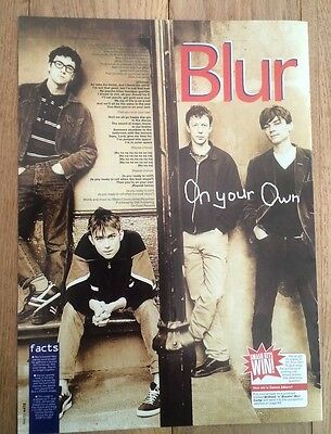BLUR 'On Your Own' lyrics magazine PHOTO/Poster/clipping 11x8 inches