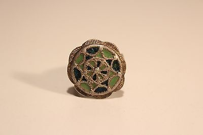 Antique Post Medieval Large Hand Made Bulgaria Silver Enamel Men's Ladies Ring