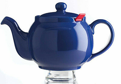 CHATSFORD Teapot 13x12cm 4cup Blue Stoneware with Red Filter