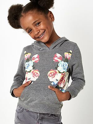 Girls Grey Floral Hoodie Various Ages 2 - 8 Free Postage