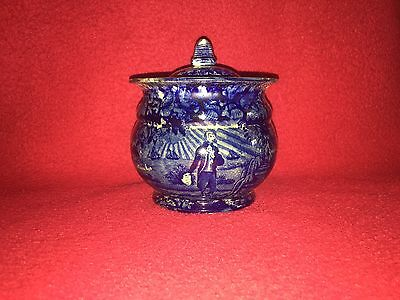 Historical Staffordshire Blue Washington Scroll In Hand Round Sugar Bowl Ca 1825