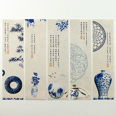 Pack of 30 bookmarks of Chinese poetry and porcelain plates vases Ming #B0011