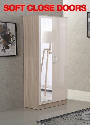 Gladini Mirror High Gloss Wardrobe - Cream/Oak