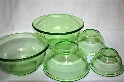 Vintage Hazel Atlas Green Glass Five Piece Mixing Bowl Set