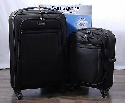 "Samsonite Ultralite 2 Softside Spinner Suitcase Luggage Set 21"" 27"" Nylon Black"