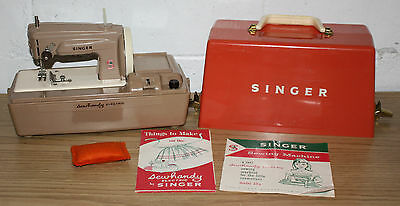 Vintage Singer Sewhandy Electric 50 D, Kids Sewing Machine w/ Case & Manuals