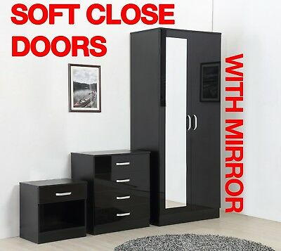 Mirror Black High Gloss 3 Piece Bedroom Furniture Set - Wardrobe Chest Bedside