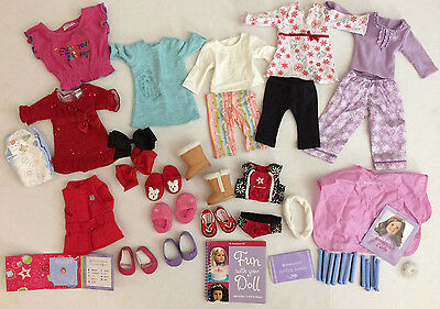 "Lot Of American Girl 18"" Doll Clothes, Shoes & Accessories curl set boots pajama"