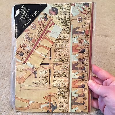 British Museum Egyptian Papyrus VINTAGE Gift Wrap NEW 2 Sheets Wrapping Paper