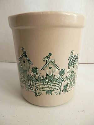 Robinson Ransbottom 1Qt High Jar with 3 green Birdhouses-Roseville, Oh