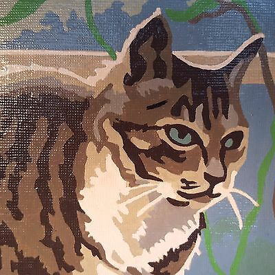 FLAWLESS! Vintage Mid C. PAINT BY NUMBERS Blue Eyed Tabby CAT at Window FRAMED