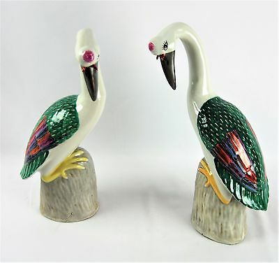 Pair of Chinese Porcelain Famille Rose Qing Dynasty Cranes Statues