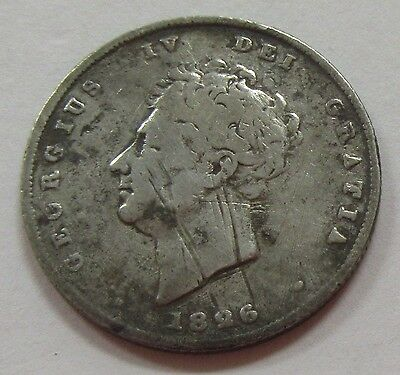 Old 1826 Great Britain One Shilling Silver Coin KM #694