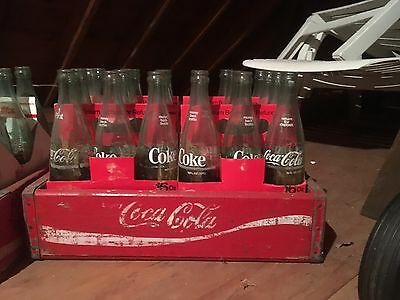 Vintage Coke a Cola Glass bottles, 16 oz. in cardboard 6 packs and wooden crate