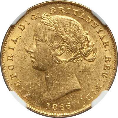 Australia 1866 Victoria Gold Sovereign NGC MS-61 Scarce in Mint State