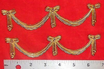 Antique Two Brass Ornamental Wall Or Furniture Accent Pieces