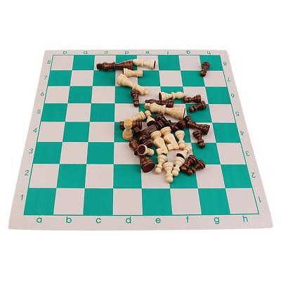 Wooden Chess Roll Up Mat Chessboard Set Classic Chesspieces Kids Gift Small