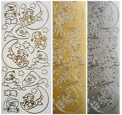 BEDTIME BEAR Peel Off Stickers Baby Moon Stars Dream Christmas Teddy Gold Silver