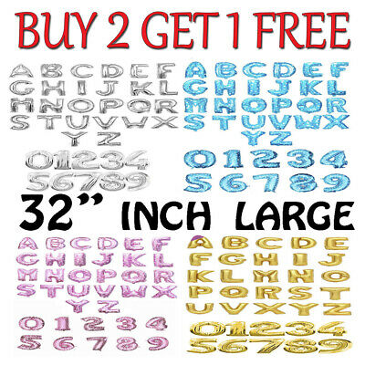"32"" LETTER Foil Number Balloons Air Baloons Large Happy Birthday Party Ballons"