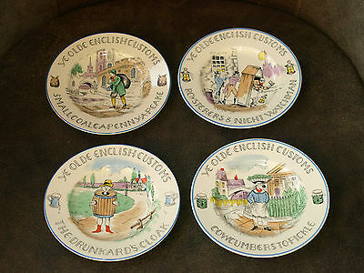 Vintage Burleigh Ware Fondville Old English customs plates 4 BURGESS & LEIGH
