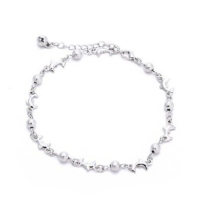 SS Women Ankle Anklet Bracelet L Chain Charm Beads White Chic