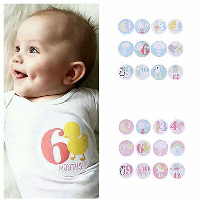 Baby Cute Cartoon Monthly Stickers New Born Baby Party Shower 1 to 12 Months