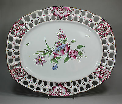Antique Strasbourg faience oval dish (1762-1781)