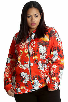 New Womens Plus Size Bomber Jacket Ladies Oriental Chinese Print Floral Nouvelle