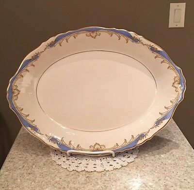 Syracuse China Federal Shape Carvel Serving Platter Bowl Ivory Blue Gold 14""