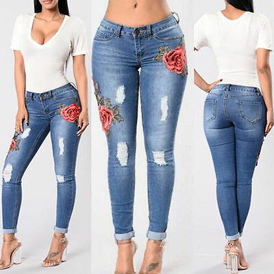 Women Floral High Waist Pencil Jeans Trousers Flower Embroidered Denim Pants