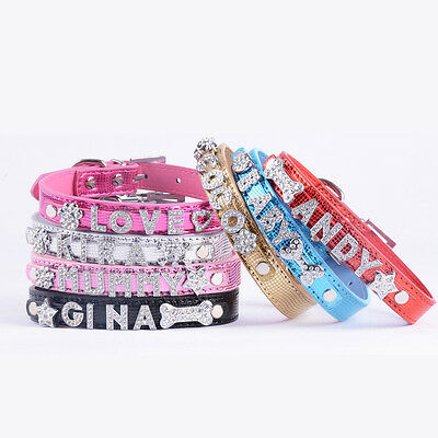 Personalised Cat Dog Collar Diamante Small Pet Puppy Collar Rhinestone Free Name