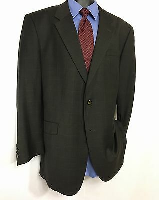 Mens JOS A BANK Gray Checked Suit Jacket   100% Wool 3 Button Sport Coat 48L