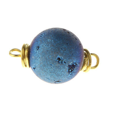 Rough Rainbow Druzy Agate Round Bead Gemstone 2 Holes for Pendant Light Blue