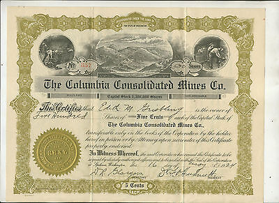 1924 Columbia Consolidated Mines Washington Stock Certificate