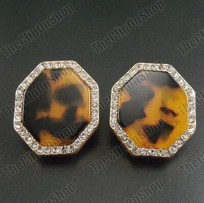 CLIP ON gold amber TORTOISESHELL EARRINGS crystal vintage retro animal tribal