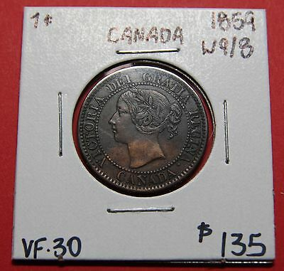 1859 Canada One Cent Penny Wide 9/8 Coin B01 - $135 F-VF