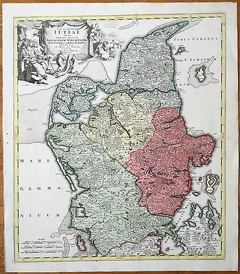 Homann Large Map Denmark Iutiae - 1720