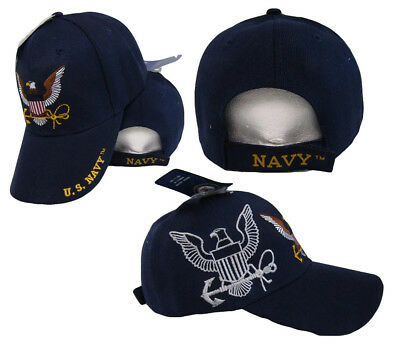 U.S. Navy USN Eagle Anchor Shadow Navy Blue Embroidered Cap Hat (TOPW) CAP602S