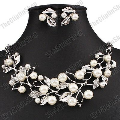 CLIP ON vintage elegant PEARL LEAF earrings NECKLACE set crystal GOLD/SILVER PLT