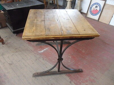 vintage industrial Gothic style iron table & rustic top micro pub dining table ?