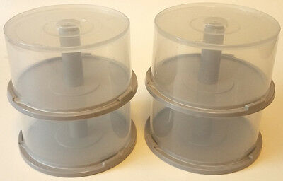 4 PIECES of 25-Disc =MINI= Cakebox CD/DVD Plastic Storage Containers/Spindles
