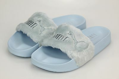 brand new 2fe9e 91507 PUMA X RIHANNA Fenty Fur Slide Womens Slippers Cool Blue 365772-03 New NIB  NWT