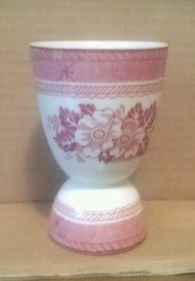 English Red Transferware Red Pink White Floral Double Egg Cup Wood & Sons ?