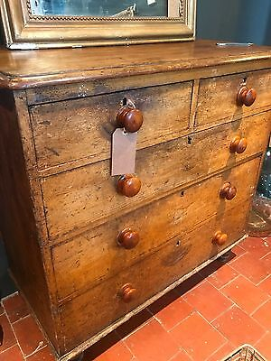 Superb Victorian Antique Country Farmhouse Scumble Painted Chest Of Drawers