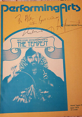"""Anthony Hopkins Signed Rare Program """"the Tempest"""" 1979 Mint Condition"""