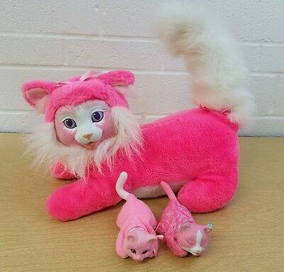 Hasbro Kitty Surprise pink kitty cat with 2 babies plush toy doll Vintage 1992