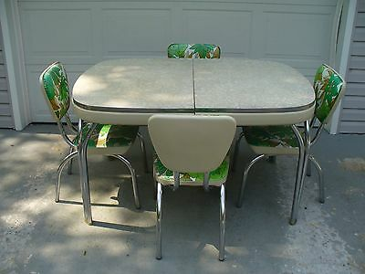 1950's Arvin Chrome Kitchen Dinette Set Gray Cracked Ice Table 4 Chairs Green